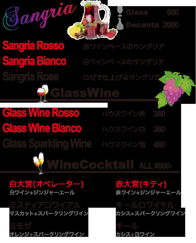 GLASS WINE,SANGURIA & WINE COCKTAIL