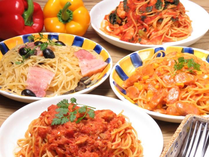 本日のパスタ(サラダ、前菜2種、本日のスープ)